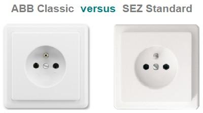 Zásuvky ABB Classic versus SEZ Standard